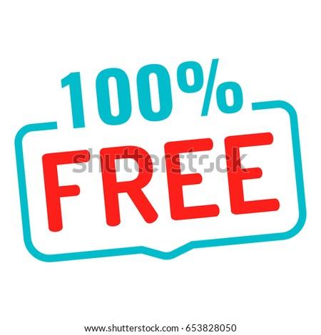 100% free. Badge icon. Flat vector illustration on white background. Stock photo ©