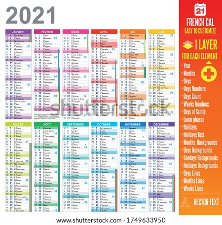 2021 french calendar template easy to customize : One layer for each element.