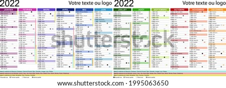 2022 French calendar with holidays, saints, school holidays and moon cycles