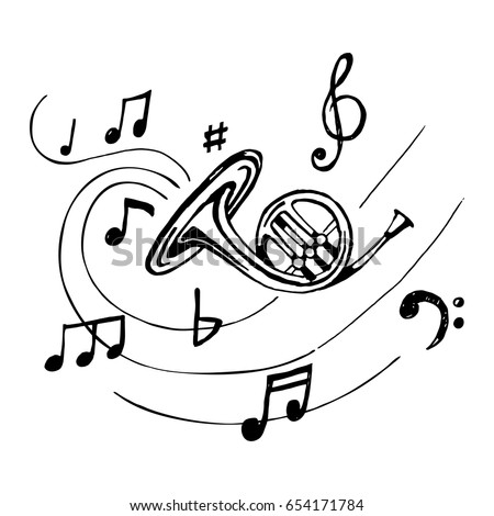 French horn with notes.  Sketch vintage trumpet. Vector.  Hand-drawn illustration of musical wind instrument.
