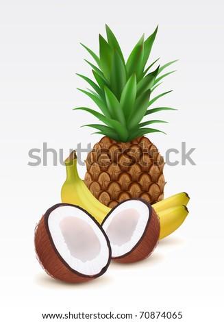 Fresh pineapple, bananas and coconut