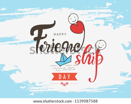 """""""Friendship Day"""" Hand Lettering Text on Doodle Grungy Background, Happy Friendship Day Greeting Card Design."""