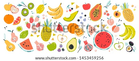Fruit collection in flat hand drawn style illustrations. Tropical fruit and graphic design elements. Ingredients color cliparts. Sketch style  ingredients. Isolated scandinavian cartoon items.