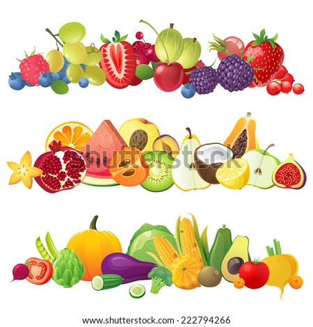 3 fruits vegetables and berries