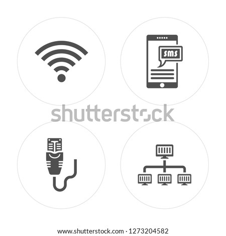 4 Full, Ethernet, Sms, Lan modern icons on round shapes, vector illustration, eps10, trendy icon set.