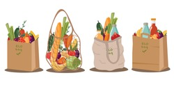 Full shopping Eco-friendly bags and paper bags for groceries.Organic fruit, vegetables and supermarket products. Vector
