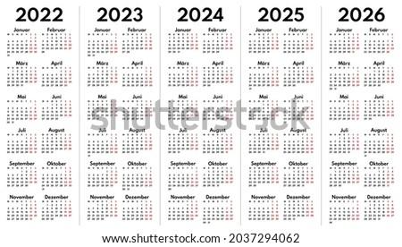 2022 2023 2024 2025 2026 full years german language calendar grids, vertical layout Stock foto ©