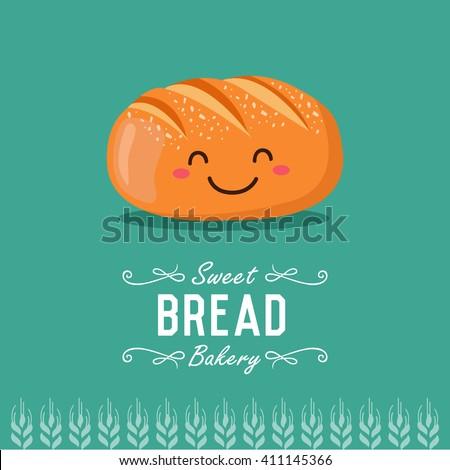 Fun cartoon bread. Bakery and pastry cartoon character. Vector illustration.