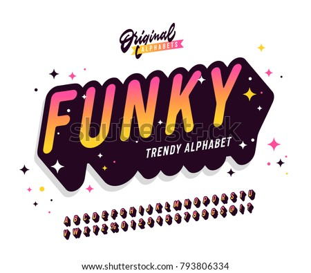 'Funky' Vintage 3D Sans Serif Rounded Colorful Alphabet with Long Shadow Effect and Festive Mood. Retro Typography. Vector Illustration.