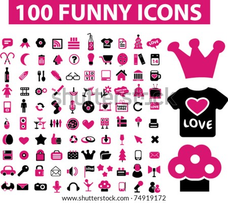 stock vector : 100 funny icons