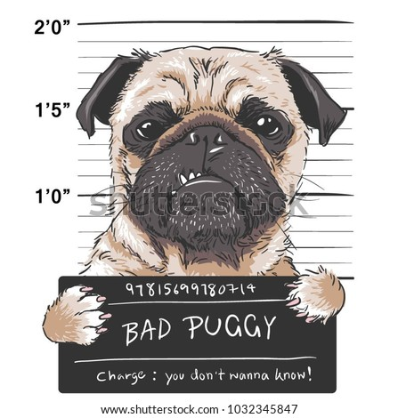 funny pug prisoner illustration