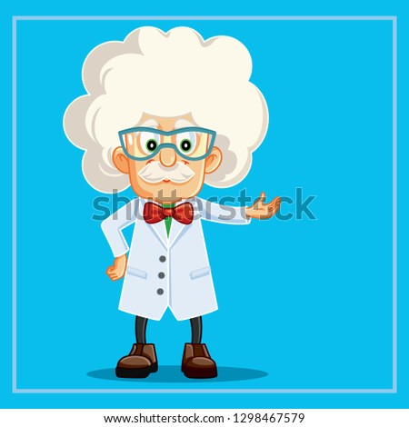 Funny Scientist Professor Cartoon Character. Genius teacher wearing white lab coat presenting a lesson