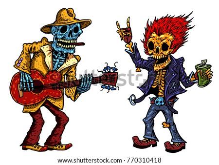 funny skeleton playing guitar