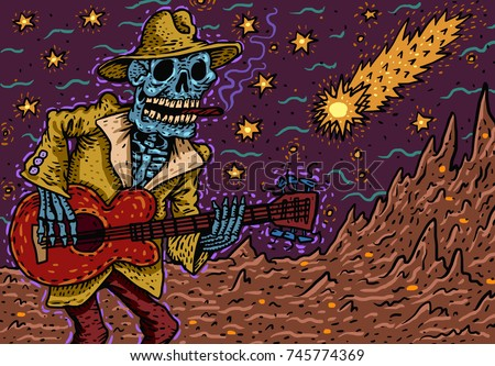 funny skeleton playing guitar