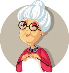 Funny Vector Cartoon Granny Knitting. Senior old grandmother crocheting a classic scarf