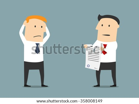 Furious cartoon businessman tearing up a contract in front of dumbfounded manager. Termination of contract or business partnership concept usage Foto d'archivio ©