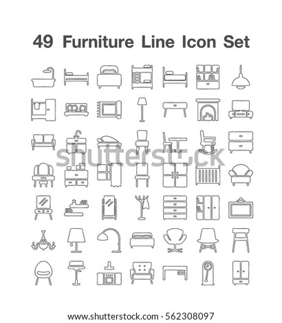 49 furniture line icons set