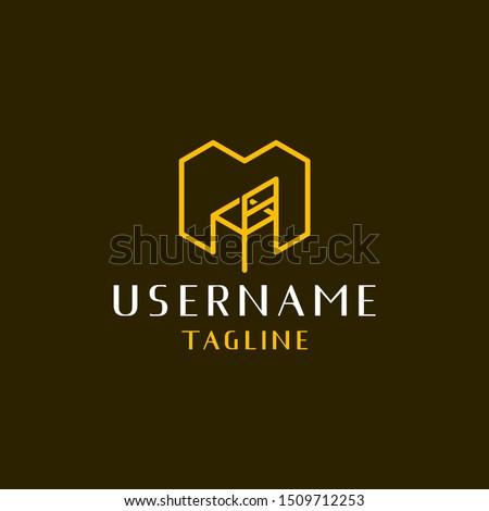 furniture logo design inspiration . letter M for furniture logo design template . chair logo design inspiration Photo stock ©