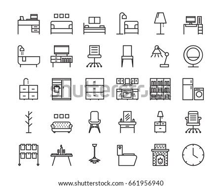 30 Furniture outline icon set. Icon for web and UI  design. Modern minimalistic style. 64x64 Pixel perfect thin line icons design. vector illustration
