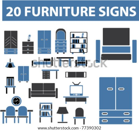 20 furniture signs, icons, elements, vector