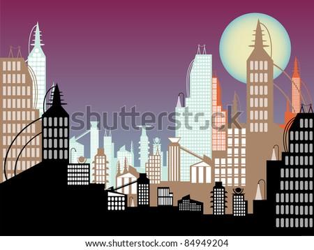 :Future cityscape abstract colors twilight sky full moon - stock vector