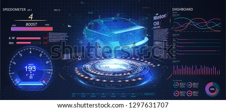 Futuristic car user interface. HUD UI. Hologram of the car, scanning. Abstract virtual graphic touch user interface. Car service in the style of HUD UX GUI. Virtual graphical interface. Vector