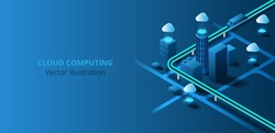 Futuristic city connected to cloud computing. Internet network connection cloud technology for communication , business and technology on Dark blue background.