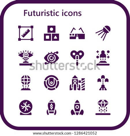 futuristic icon set. 16 filled futuristic icons. Simple modern icons about  - Transform, Cubes, Virtual glasses, Sputnik, Eye scan, Automaton, Hologram, Robot, Rocket, Spaceship