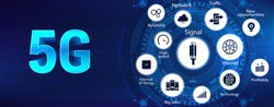 5G banner with icons with icons and keywords. Technology 5G banner ( wireless systems, internet of things, speed, signal, big data, traffic) New generation mobile networks and internet. Vector image