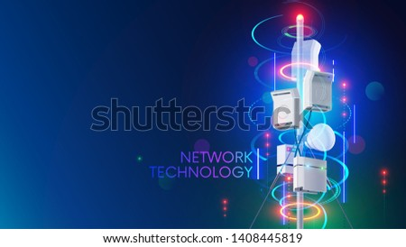 5g cell network communication tower or antenna transmits wireless signal on mobile devices. Cellular high speed internet. Fifth generation telecommunication technology. Tech background concept.