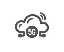5g cloud computing icon. Wireless technology sign. Mobile wifi internet symbol. Classic flat style. Quality design element. Simple 5g cloud icon. Vector