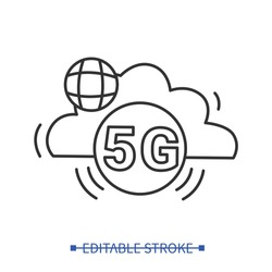5g cloud data storage icon. Fifth generation web connection and internet of things concept. Outline wireless internet sign. Digital technology innovation. Linear vector illustration.Editable stroke