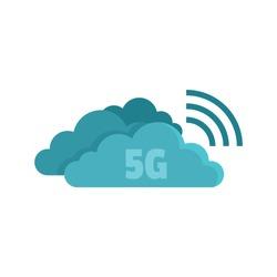 5G cloud technology icon. Flat illustration of 5G cloud technology vector icon for web design