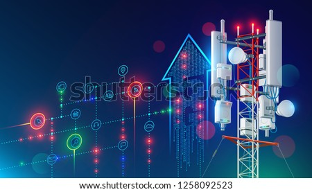 5G communication tower for wireless hi-speed internet. Mobile network technology in city life concept. LTE aerial connection with satellite net. Mast of station of the broadcasting cellular.