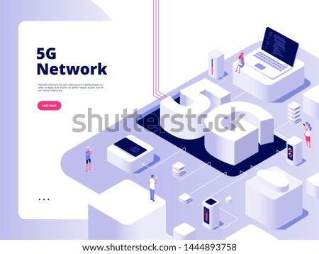 5g concept. Wifi telecom 5g technology speed internet broadband fifth hotspots wifi global network telecommunication isometric vector. Illustration of 5g connection isometric, network technology