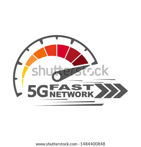 5g fast network logo. Speed internet 5g concept. Abstract symbol of speed 5g network. Speedometer logo design. Vector icon. EPS 10