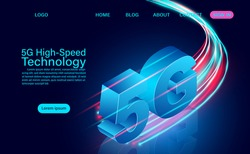 5g High-speed Technology concept. Network Communication Wireless Internet. network connection fastest internet. isometric flat design vector illustration