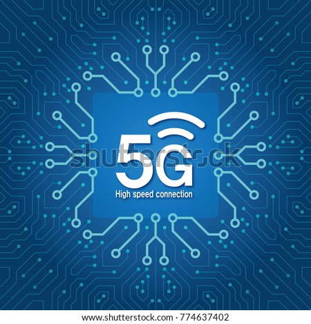 5G network connection concept_circuit board. Fifth generation mobile communications. 5th Generation Mobile Telecommunication. Wireless network ultrafast speed. The Fourth Industrial Revolution_5G.