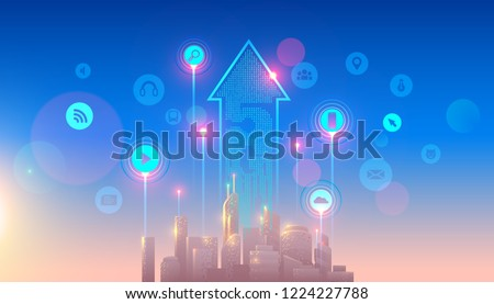 5g network logo over the smart city with icons of town infrastructure. devices connection via high speed, broadband telecommunication wireless internet. Skyscrapers in sunrise.
