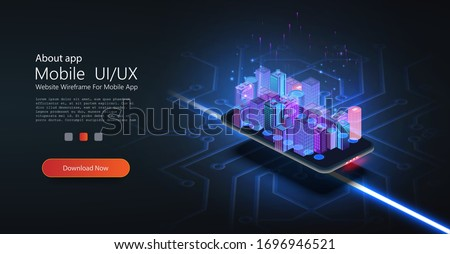 5G network technology, isometric concept. Smart city, tall buildings with 5G symbol wireless internet. Wireless technology isometric composition with city block tall buildings on mobile phone.