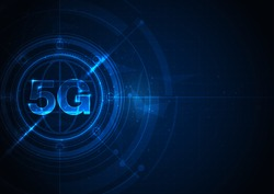 5G network wireless internet Wi-fi connection.  communication network concept. High speed, broadband telecommunication. vector design.