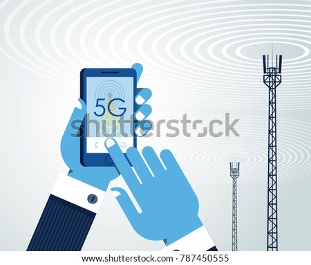 5G networks concept. Businessman is using smart phone with 5G wireless communication. The word