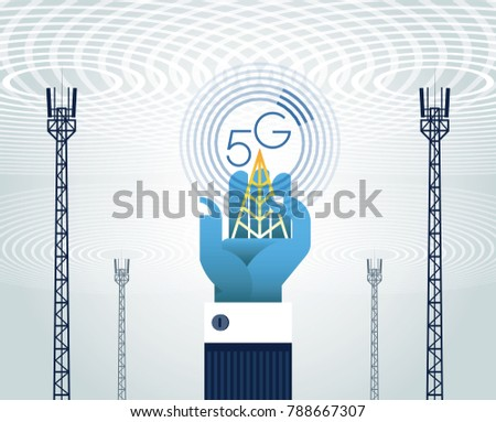 5G networks concept. The antenna(telecommunication tower) and the word