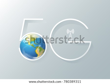5G networks_the Earth, Telecommunication tower and 5G word. Fifth generation mobile communications. 5th Generation Mobile Telecommunication. The Fourth Industrial Revolution. ultrafast speed network.