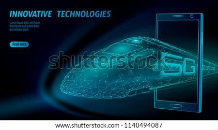 5G new high-speed rail wireless internet wifi concept. Global fast higher railway train. Low poly dark blue polygonal triangle smartphone dots innovation data rate technology vector illustration
