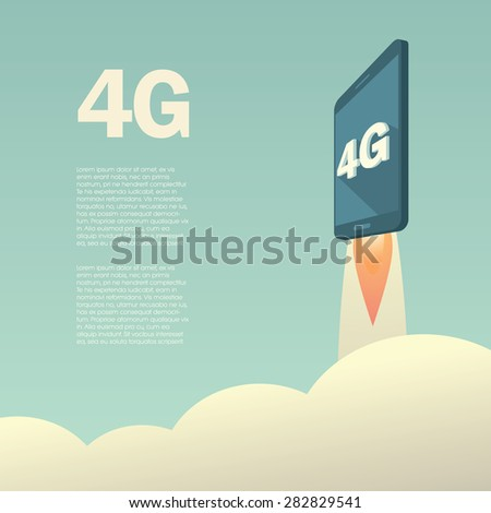 4G or LTE presentation poster template with smartphone flying. High speed mobile web technology. Eps10 vector illustration.