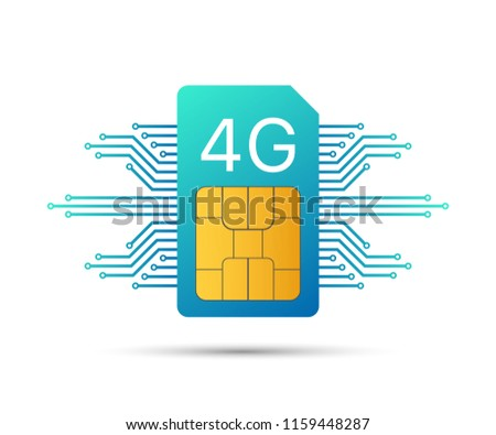 4G Sim Card. Mobile telecommunications technology symbol. Vector stock illustration.