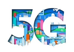 5G symbol with city elements. Vector illustration in paper art style. 5th generation mobile network, wireless internet connection technology.