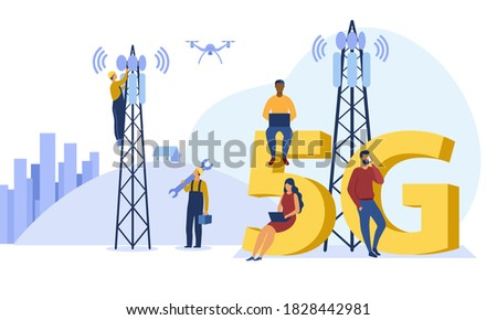 5g technology and communication concept with people and 5G towers. Stockfoto ©