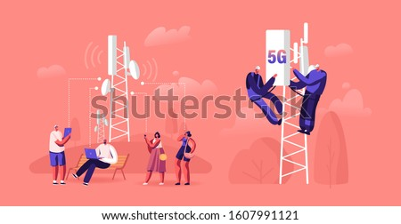 5g Technology Concept. Workers on Transmitter Tower Set Up High-speed Mobile Internet, City Dwellers Using New Generation Networks for Communication and Gadgets. Cartoon Flat Vector Illustration